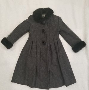 Rothschild Girls Grey Wool Coat Sz 6 Fur Collar